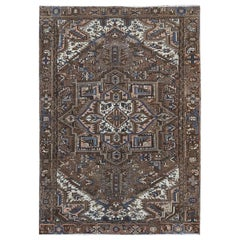 Chocolate Brown Semi Antique Persian Heriz Vintage Oriental Rug