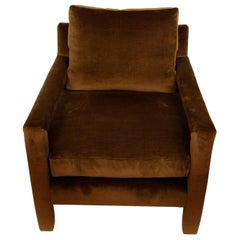 Chocolate Brown Velvet 1960s Parsons Chair