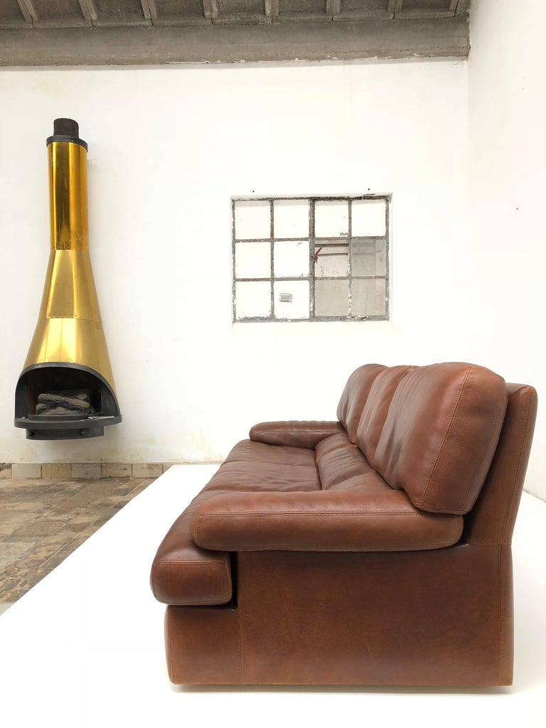 Chocolate Brown Vintage Leather Roche Bobois Three Seat