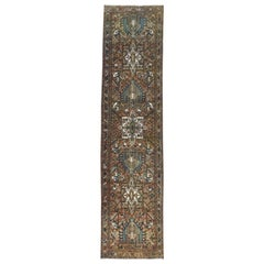 Chocolate Brown Vintage Persian Karajeh Sheared Down Pile Clean Hand Knotted Rug