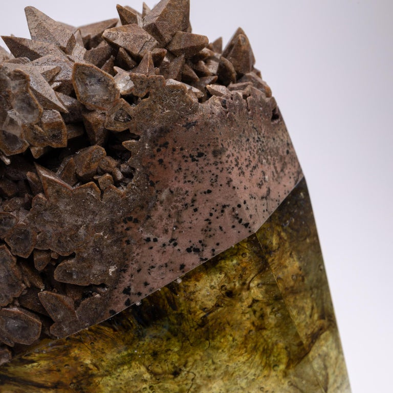 Mexican Chocolate Calcite and Glass Sculpture from TYME Collection on Acrylic Base For Sale