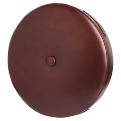 Chocolate Color Leather Drum Stacking Cushion by Moses Nadel