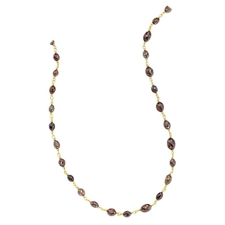 Chocolate Diamond Beaded Sautoir Necklace 49 Carat 20 Karat Gold For Sale