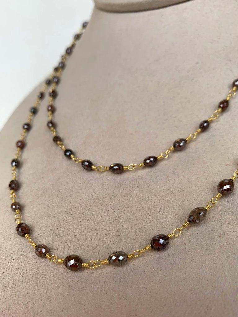 Artisan Chocolate Diamond Beaded Sautoir Necklace 49 Carat 20 Karat Gold For Sale