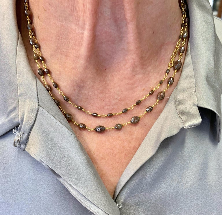 Women's Chocolate Diamond Beaded Sautoir Necklace 49 Carat 20 Karat Gold For Sale