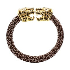 Chocolate Galuchat Skin Bangle Bracelet with Panther Head Gold-Plated