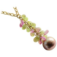 Chocolate Pearl and Colored Stone Briolettes Pendant on Textured Toggle Chain