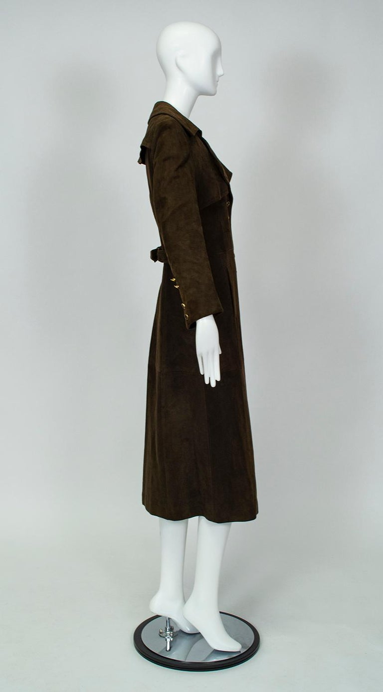 Black Chocolate Brown Suede Full-Length Military Princess Trench Coat - S-M, 1970s For Sale