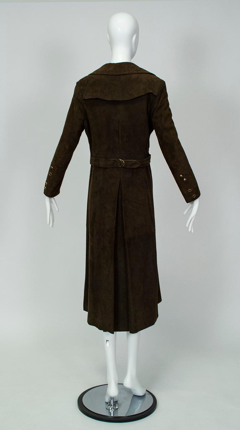 Chocolate Brown Suede Full-Length Military Princess Trench Coat - S-M, 1970s In Excellent Condition For Sale In Tucson, AZ