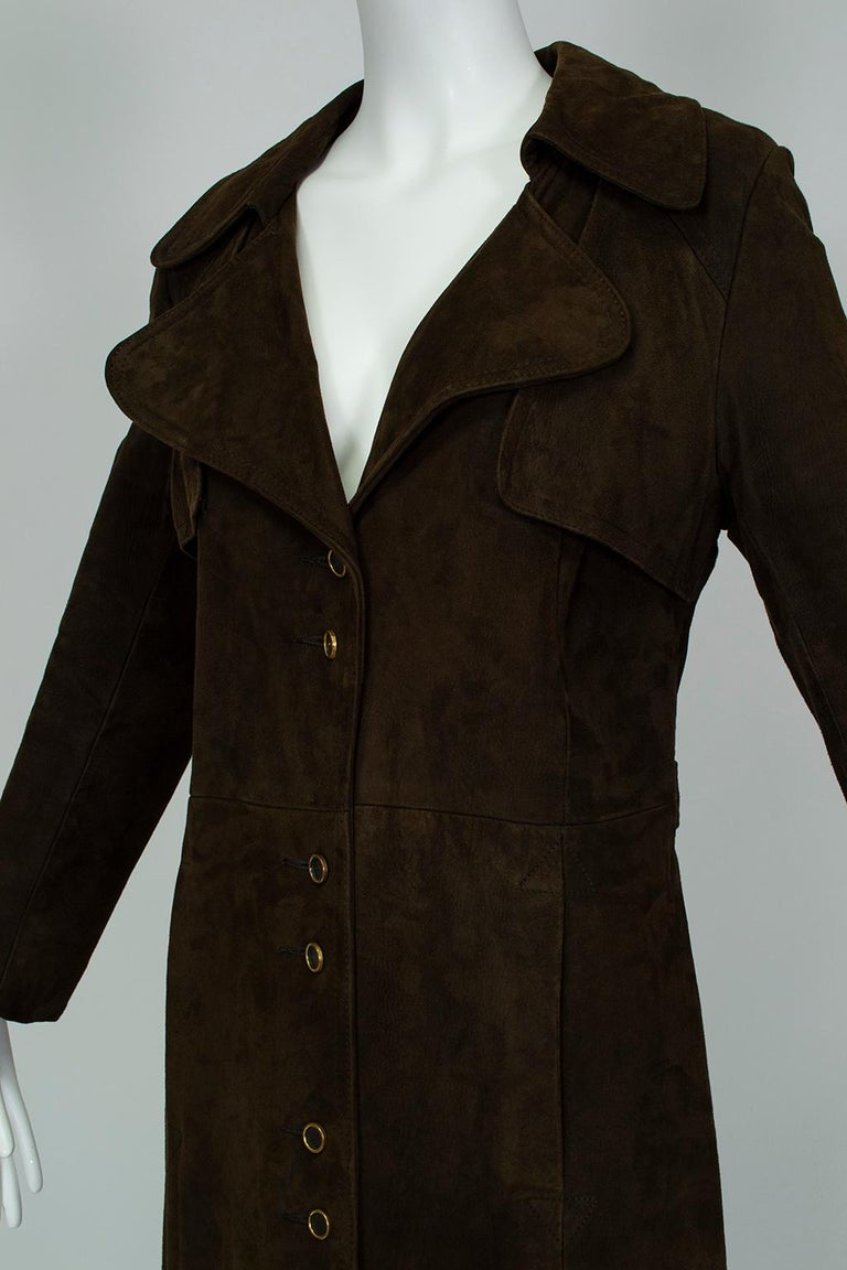 Women's Chocolate Brown Suede Full-Length Military Princess Trench Coat - S-M, 1970s For Sale
