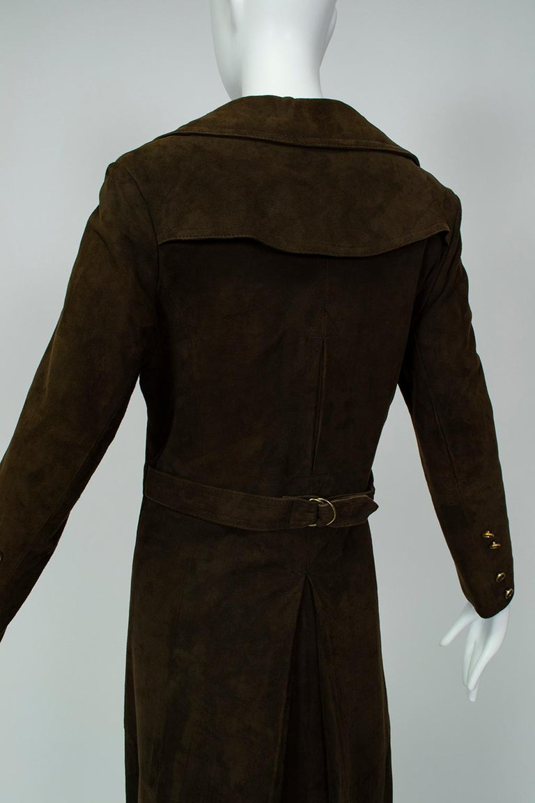Chocolate Brown Suede Full-Length Military Princess Trench Coat - S-M, 1970s For Sale 1