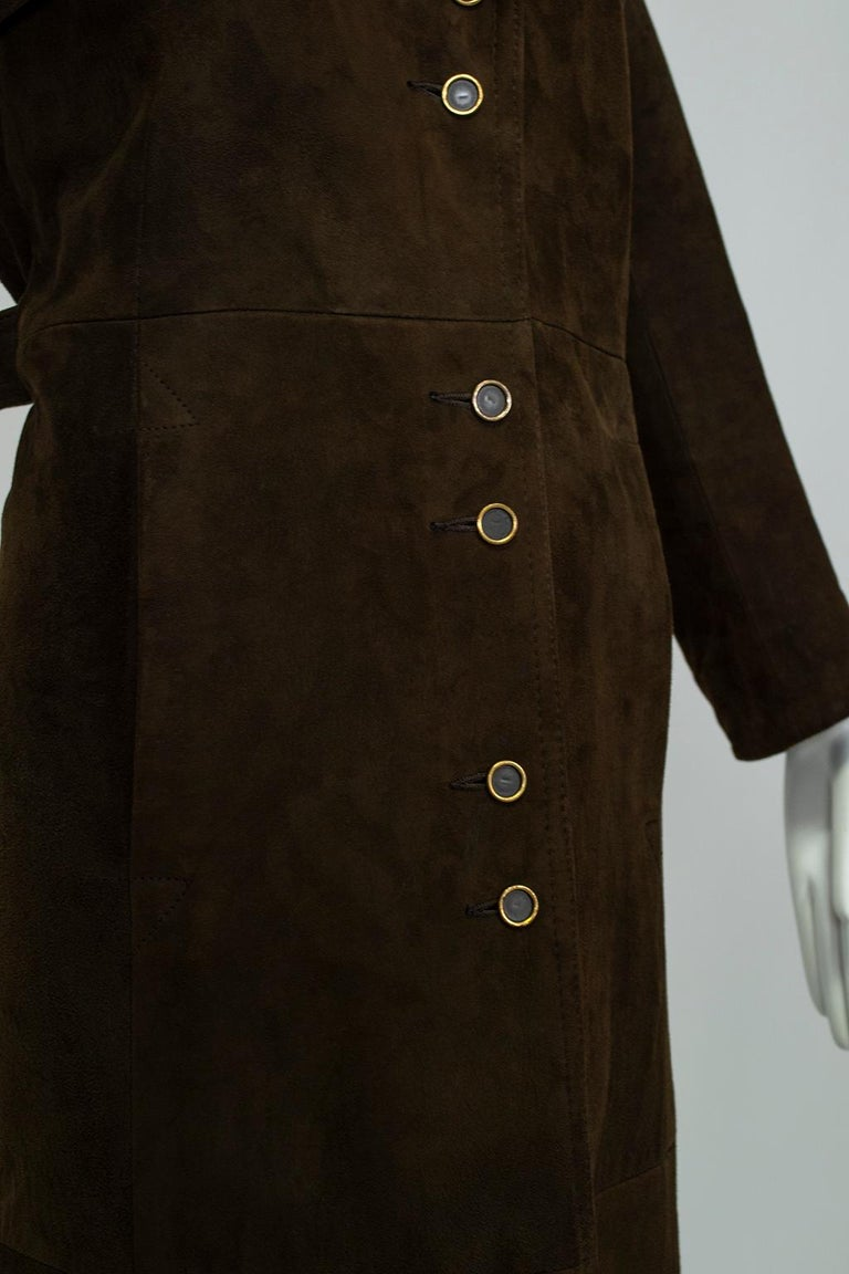 Chocolate Brown Suede Full-Length Military Princess Trench Coat - S-M, 1970s For Sale 2