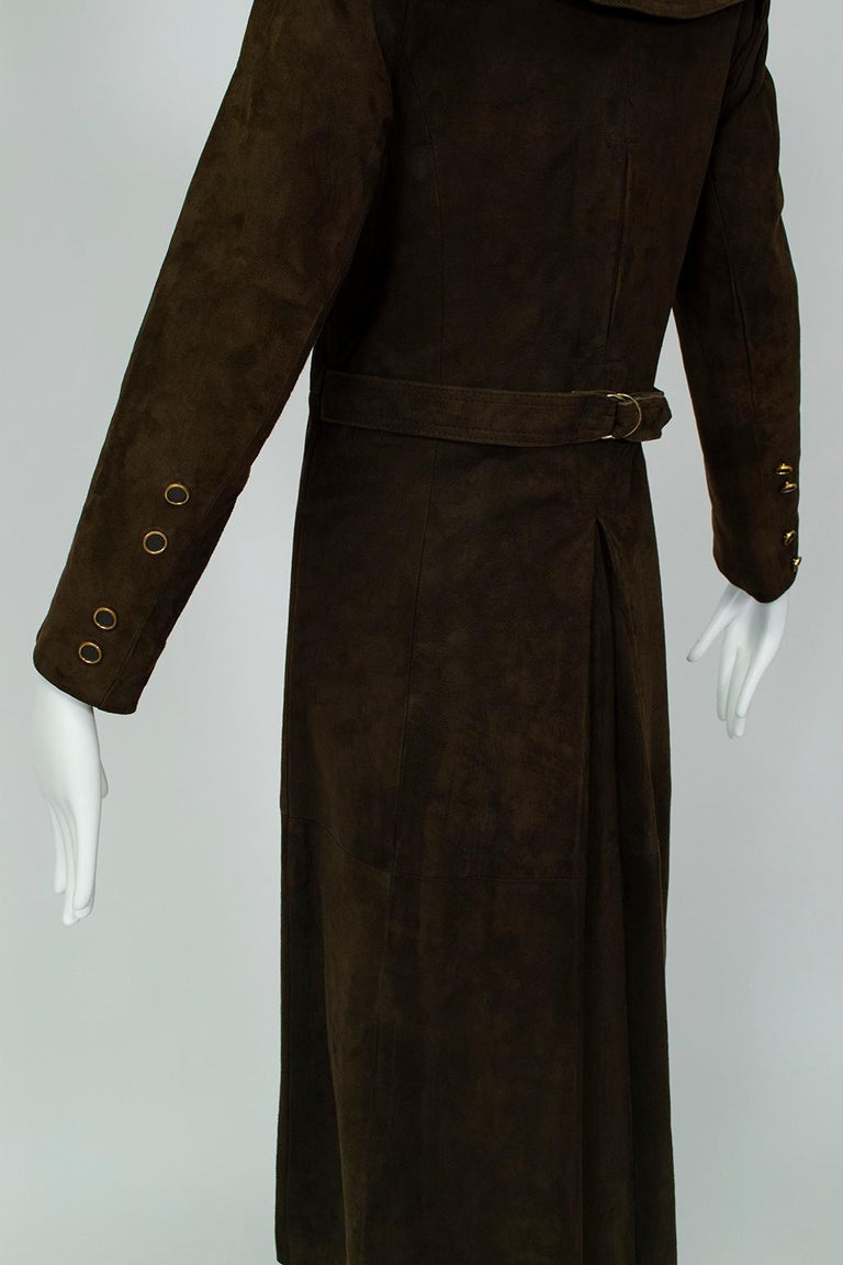 Chocolate Brown Suede Full-Length Military Princess Trench Coat - S-M, 1970s For Sale 3