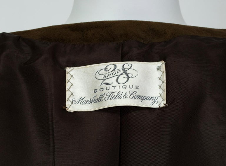Chocolate Brown Suede Full-Length Military Princess Trench Coat - S-M, 1970s For Sale 4