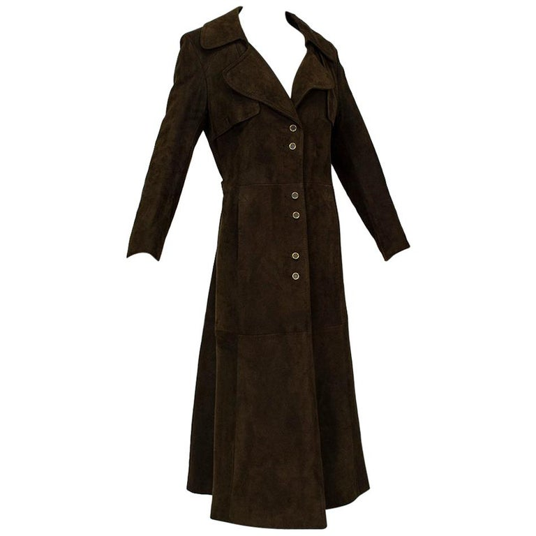 Chocolate Brown Suede Full-Length Military Princess Trench Coat - S-M, 1970s For Sale