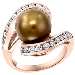 Chocolate Tahitian Pearl and Diamond Cocktail Ring 14 Karat Gold
