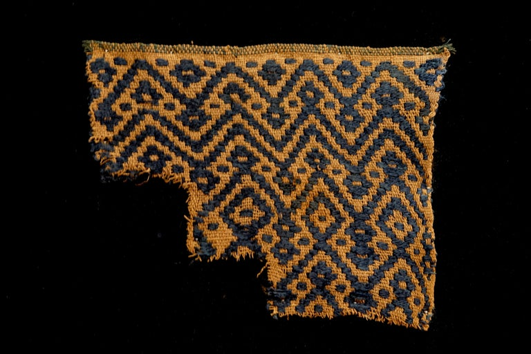 Golden brown Pre-Columbian textile fragment with dark blue geometric patterns. This piece is framed in a black shadowbox.
