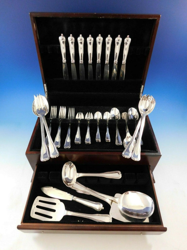 Outstanding Choiseul by Puiforcat France sterling silver flatware set, 47 pieces. This set includes: