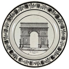 Choisy French Creamware Neoclassical Arc de l' Étoile Paris Architecture Plate