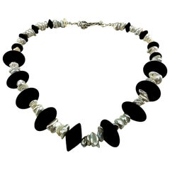 Choker Necklace of Black Onyx and Silvery Biwa Pearls