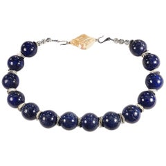 Gemjunky Choker Necklace of Large Lapis Lazuli Spheres with Silver Accents
