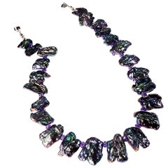 16 Inch choker Necklace of Peacock Pearl Tablets and Amethyst Accents