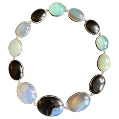Choker Necklace with Agate, Chalcedony, and Labradorite in Sterling Silver