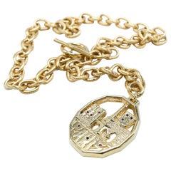Choker Chunky Chain Pendant Necklace White Diamonds Ruby Blue Sapphire J Dauphin