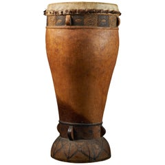 Chokwe people, DRC, Wooden Drum with inlaid Decorative motifs