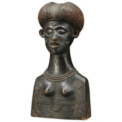 Chokwe Tribal Female Bust with Scarifications and Finely Carved Hair
