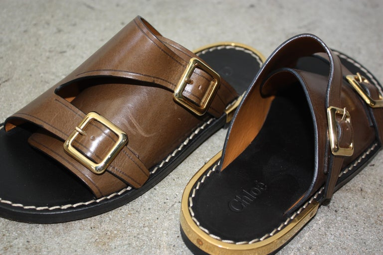 Chloe Brown Double Buckle Sandals Size 36 For Sale 1