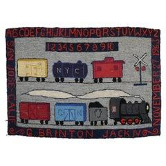 Choo Choo Train American Hooked Pictorial Rug, 20th Century