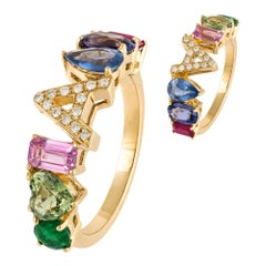 Choose Your Letter in This Multisapphire Diamond Yellow Gold 18K Ring for Her