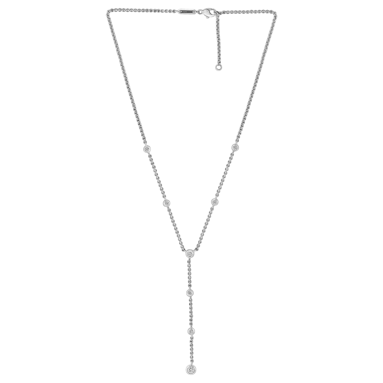 Chopard 1.4 Carat 8 Diamonds 18 Karat White Gold Y Drop Necklace, Adjustable