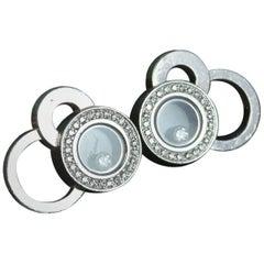 Chopard 18 Carat White Gold Diamond Happy Bubbles Cluster Stud Earrings