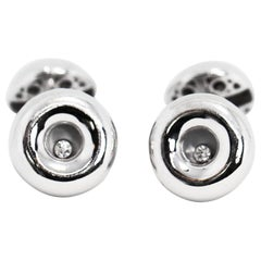 Chopard 18 Carat White Gold Happy Diamond Cufflinks
