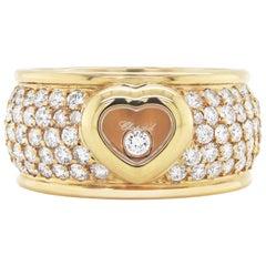 Chopard 18 Carat Yellow Gold Happy Diamond Heart Pavé Ring