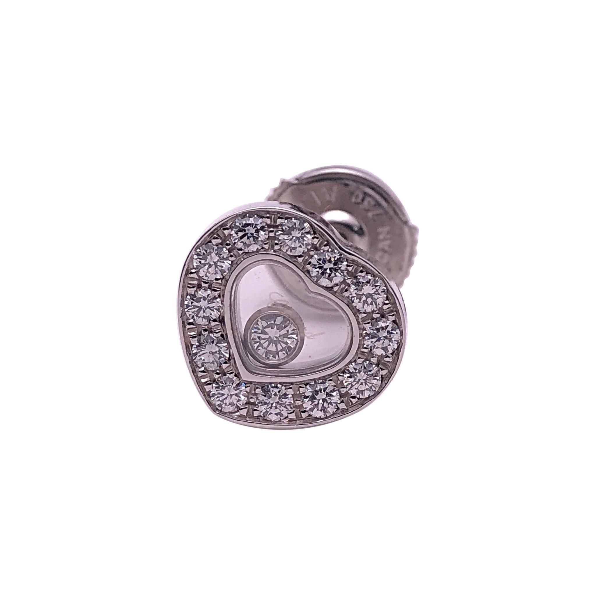 Chopard 18 Karat Gold Diamond Heart Stud Earrings with Single Floating Diamond