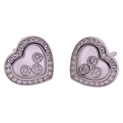 Chopard 18 Karat Gold Happy Diamond Heart Stud Earrings with 3 Floating Diamonds