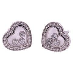 Chopard 18 Karat Gold Happy Diamond Heart Stud Earrings with 3 Floating Diamonds