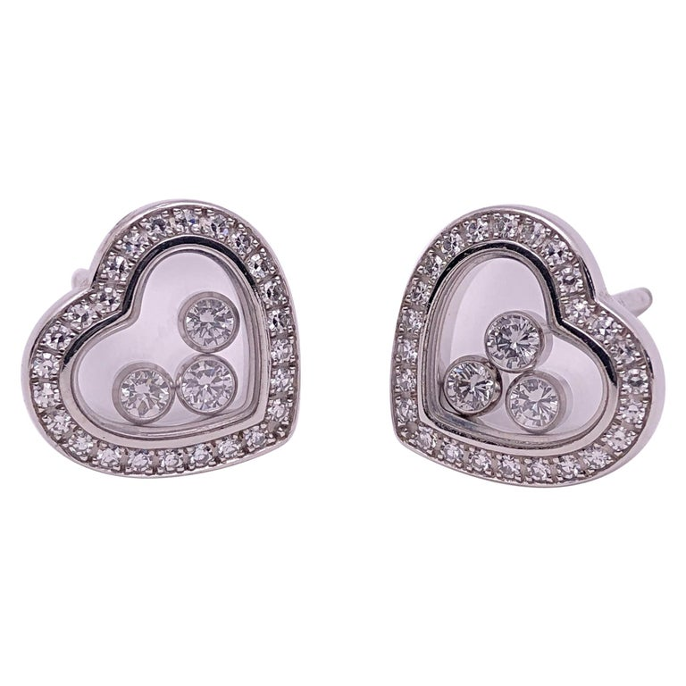 Chopard 18 Karat Gold Happy Diamond Heart Stud Earrings with 3 Floating Diamonds For Sale