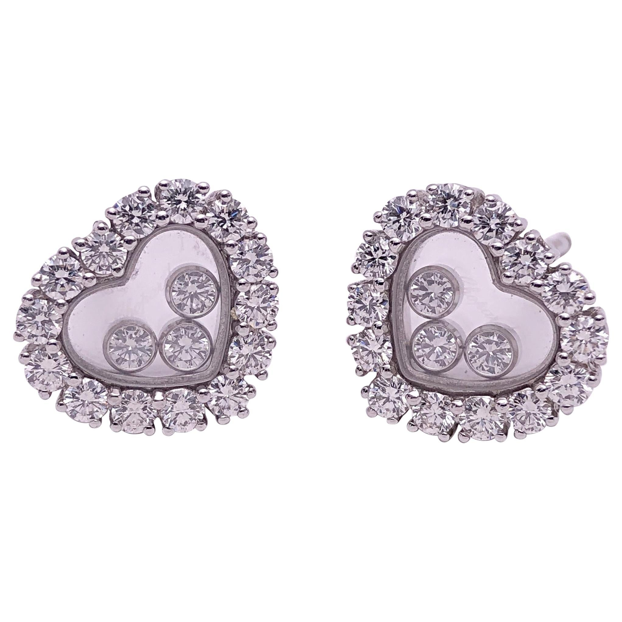 Chopard 18 Karat Gold Happy Diamonds Heart Earrings with 3 Floating Diamonds