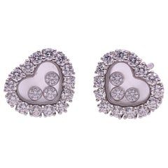 Chopard 18 Karat Gold Happy Diamonds Heart Earrings with 3 Floating Diamonds