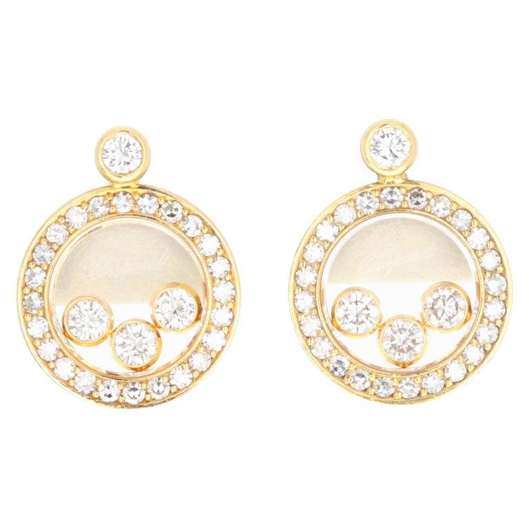 Chopard 18 Karat Happy Diamond Icon Earrings For Sale