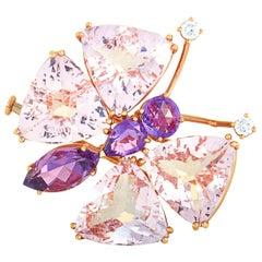 Chopard 18 Karat Rose Gold Diamond, Amethyst and Morganite Butterfly Brooch