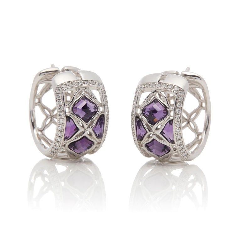Modern Chopard 18 Karat White Gold Amethyst and Diamond Imperiale Earrings For Sale