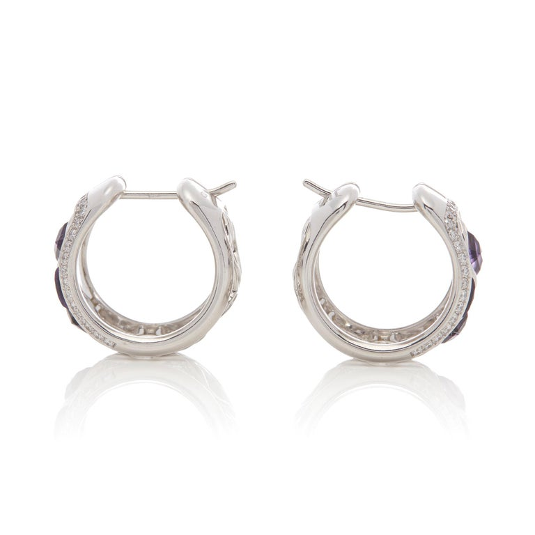 Women's Chopard 18 Karat White Gold Amethyst and Diamond Imperiale Earrings For Sale