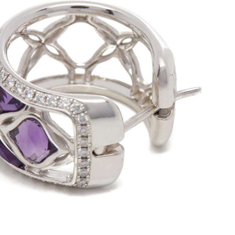 Chopard 18 Karat White Gold Amethyst and Diamond Imperiale Earrings For Sale 2