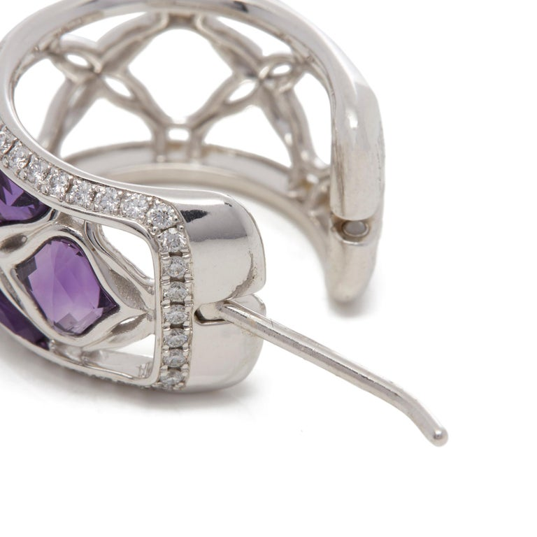 Chopard 18 Karat White Gold Amethyst and Diamond Imperiale Earrings For Sale 4