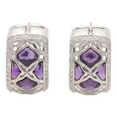 Chopard 18 Karat White Gold Amethyst and Diamond Imperiale Earrings